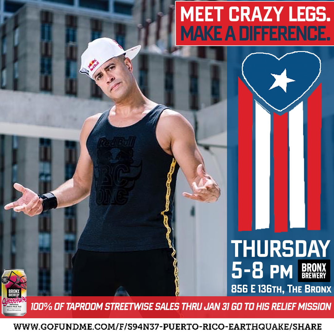 THE BRONX BREWERY & BRONX LEGEND 'CRAZY LEGS' PARTNER UP TO SUPPORT PUERTO RICO EARTHQUAKE RELIEF