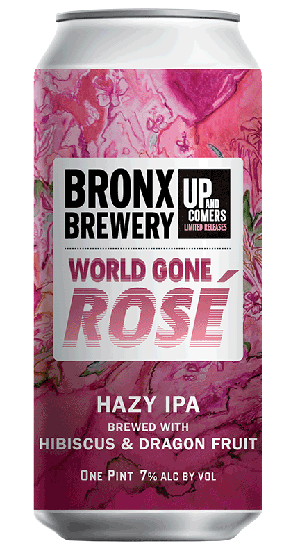 <h3>World Gone Rose</h3><span style='color: #a4164d;'>Rosé Hazy IPA with Hibiscus & Dragon Fruit</span>